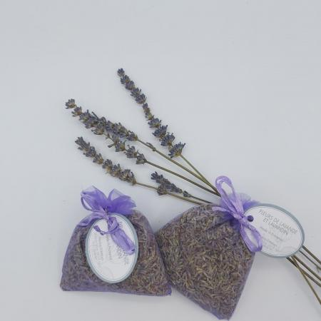 100% Natural Lavender Flower Sachet - Purple Organza